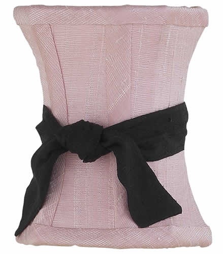 Solid Pink Chandelier Shade with Black Sash