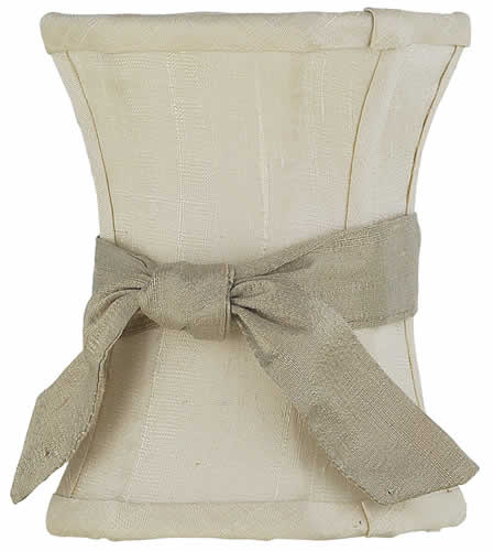 Solid Ivory Chandelier Shade with Taupe Sash