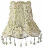 Ivory Tulle with Pearl Dangle Chandelier Shade
