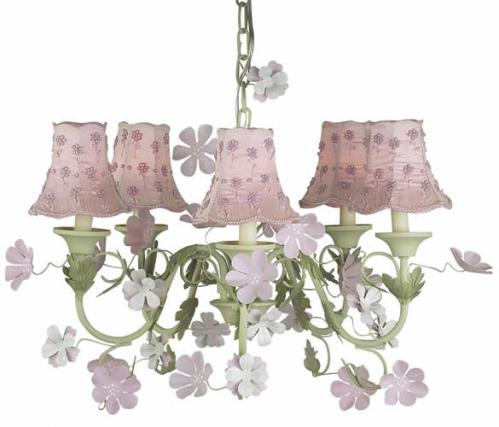 Pink/Green Leaf & Flower Chandelier (optional Pink Daisy Shades)