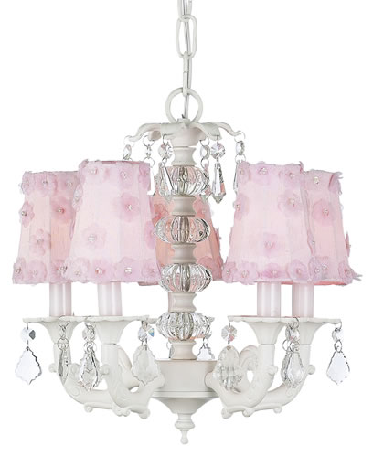 White Chandelier with Glass Ball Tower (optional Pink Petal Shades)