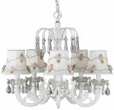 White 5-Arm Waterfall Chandelier (optional White Floral Shades)