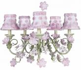 Pink/Green Leaf & Flower 5-Arm Chandelier (optional Pink Shades)