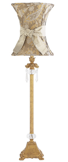 Large gold lamp w crystal dangles taupe paisley hourglass lamp shade aloadofball Gallery