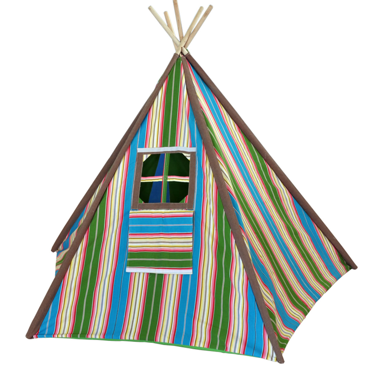 Blue and Green Striped Kids Canvas Teepee Thumbnail 1