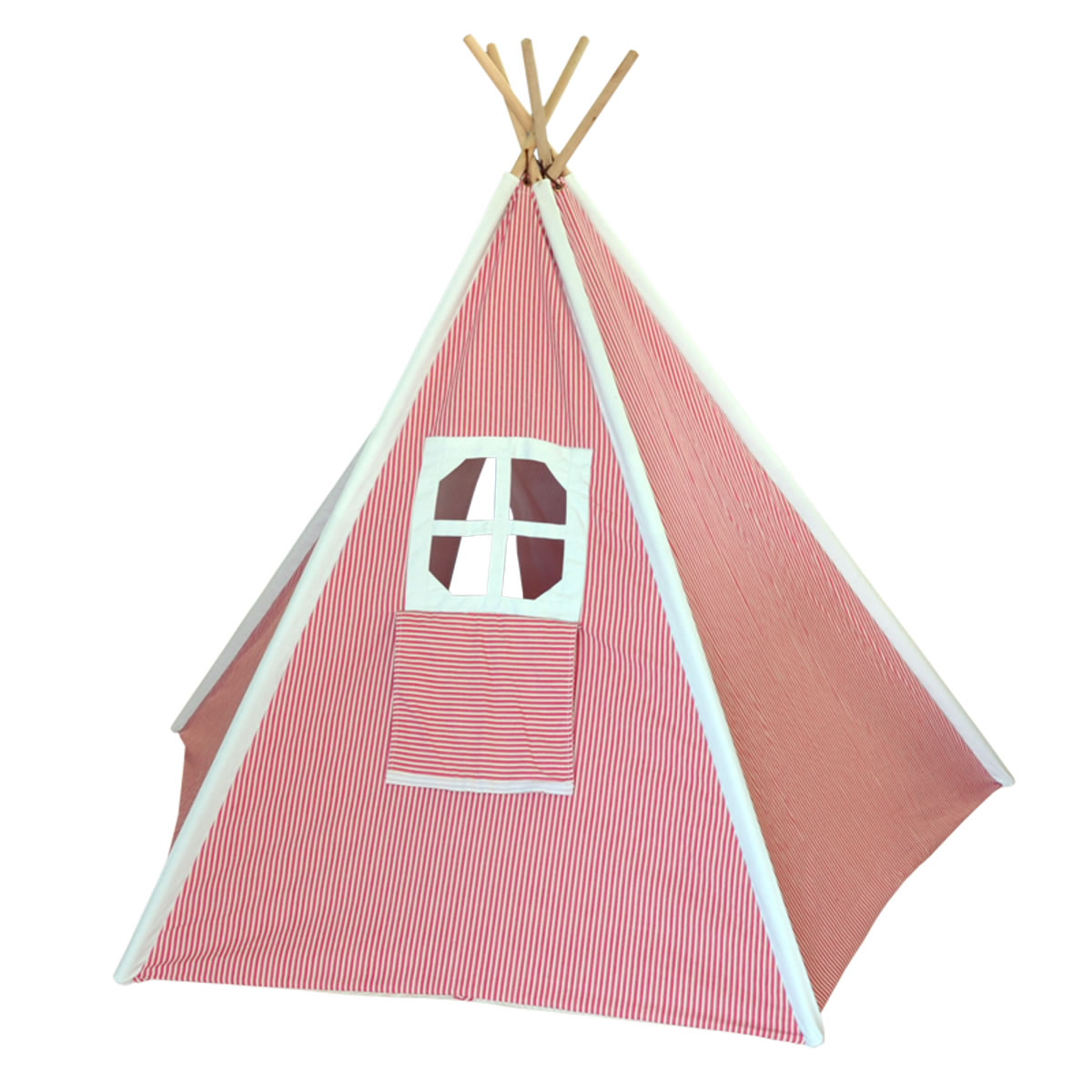 Red Striped Kids Canvas Teepee Thumbnail 1