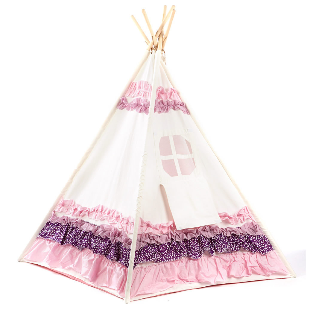 Pink and Purple Ribbon Kids Canvas Teepee Thumbnail 1