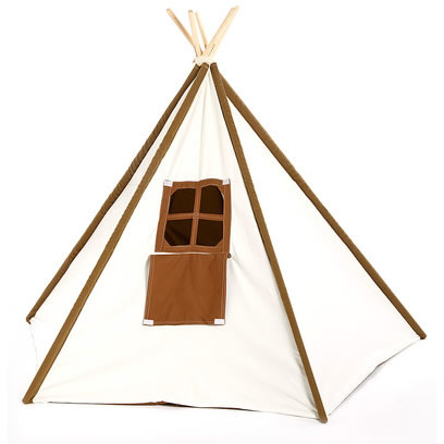 Brown and White Kids Canvas Teepee Thumbnail 1
