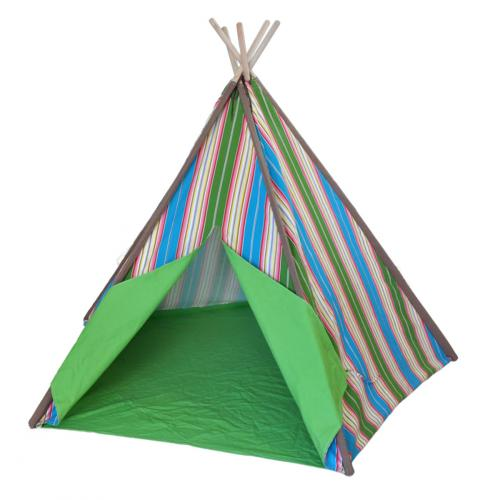 Blue and Green Striped Kids Canvas Teepee Thumbnail