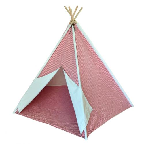 Red Striped Kids Canvas Teepee Thumbnail