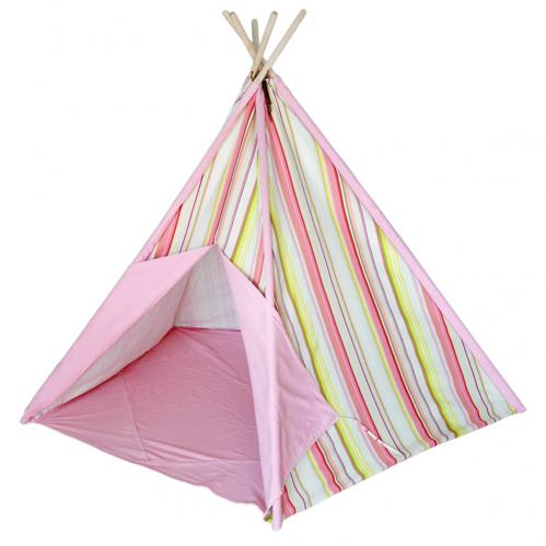 Pink Multi Striped Kids Canvas Teepee Thumbnail