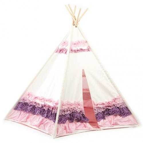Pink and Purple Ribbon Kids Canvas Teepee Thumbnail