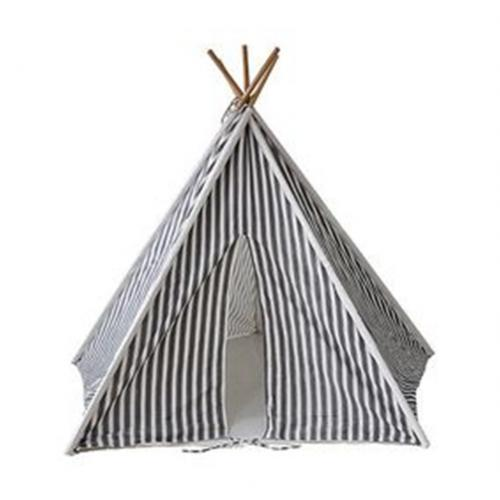 Charcoal Gray Striped Kids Canvas Teepee