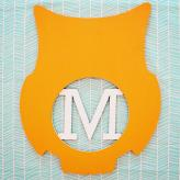 Personalized Owl Wall Art Initial