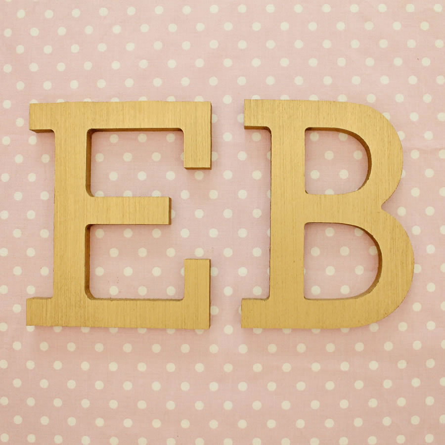 gold block wood wall letters
