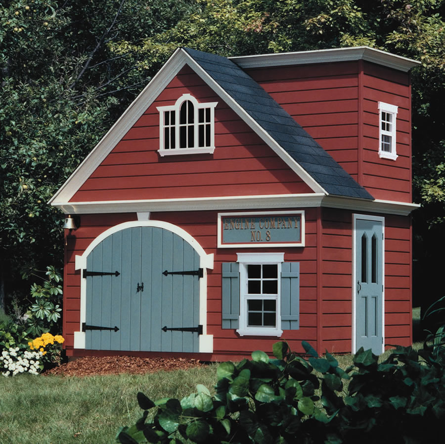 Wood playhouse plans firehouse pdf plans for Wooden playhouse designs