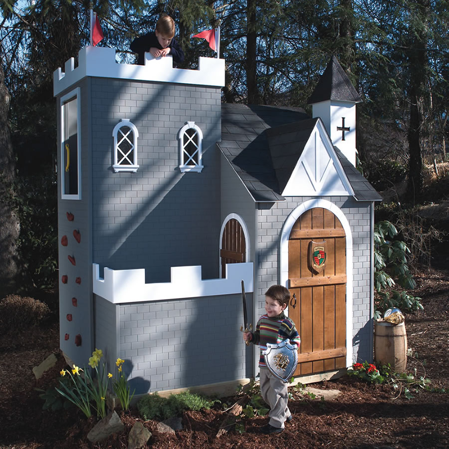 Woodwork castle playhouse kit pdf plans for Cheap playhouse kits