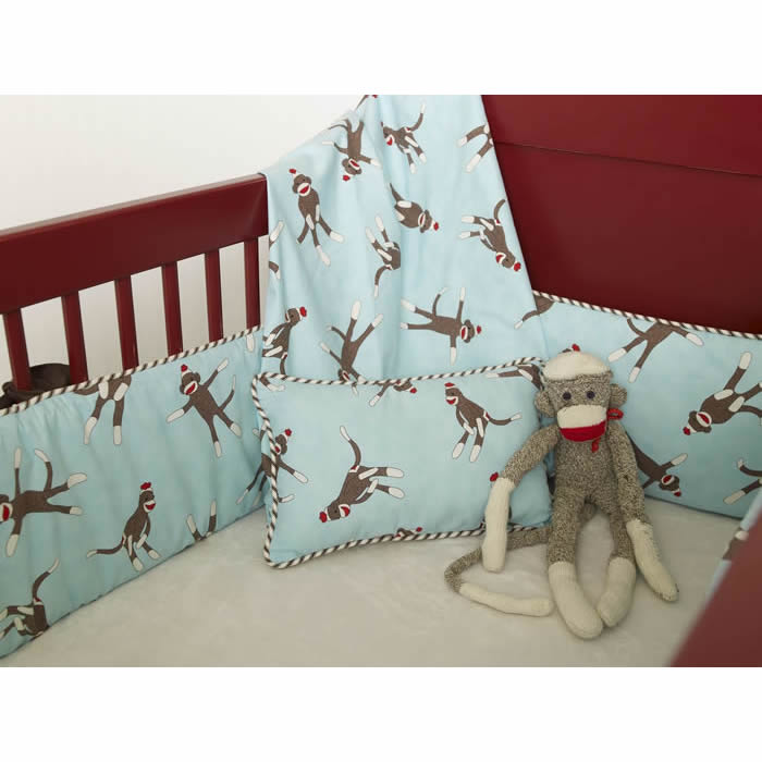 Sock Monkey Crib Bedding In Blue By Maddie Boo