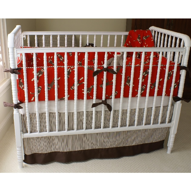 Sock Monkey Crib Bedding in Crimson by Maddie Boo Main Thumbnail