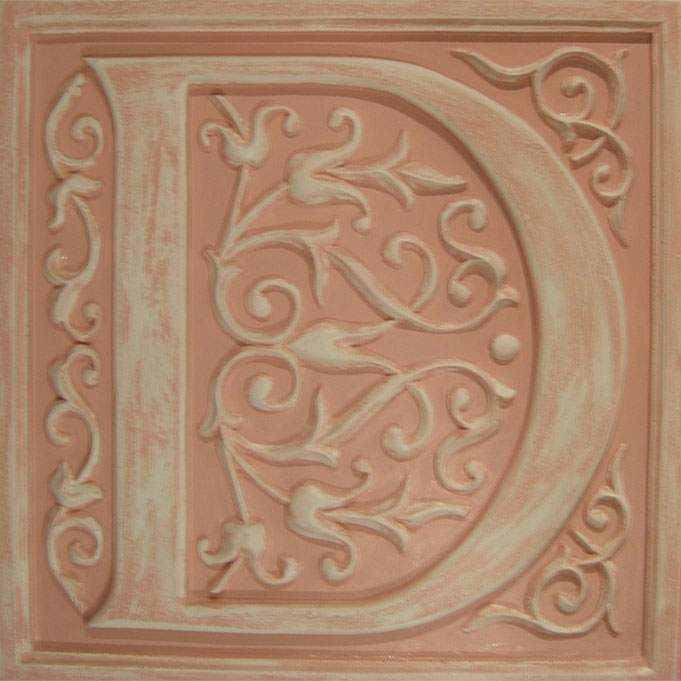 Letter plaque d distressed pink by marie ricci for Letter plaques