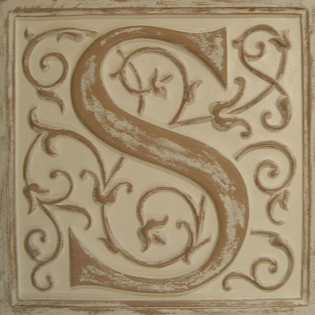 Letter plaque s distressed ivory by marie ricci for Letter plaques