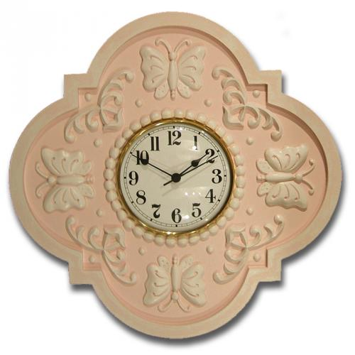 Butterfly Clock - Distressed Pale Pink Thumbnail