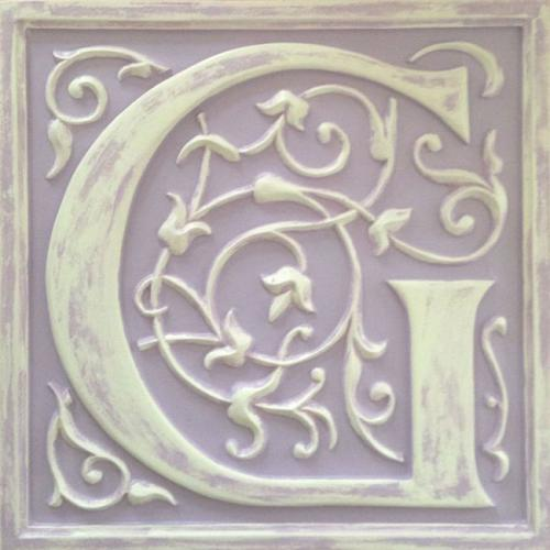 Letter plaque g distressed lilac by marie ricci for Letter plaques