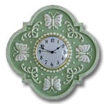 Butterfly Clock - Distressed Pale Green