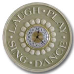 Laugh Play Clock - Distressed Olive Green