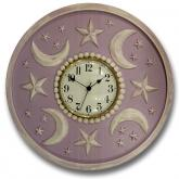 Moon Stars Clock - Distressed Lilac