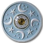 Moon Stars Clock - Distressed Powder Blue