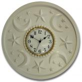 Moon Stars Clock - Solid White