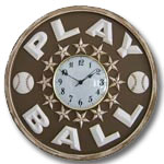 Play Ball Clock - Distressed Brown