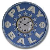 Play Ball Clock - Distressed Light Blue