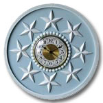 Stars Clock - Distressed Powder Blue