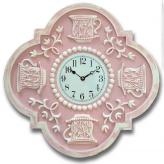 Teacups Clock - Distressed Pink