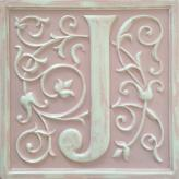 Letter Plaque J - Distressed Pink