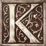 Letter Plaque K - Distressed Brown