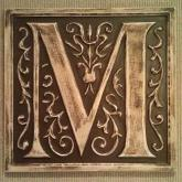 Letter Plaque M - Distressed Brown