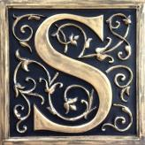 Letter Plaque S - Distressed Black
