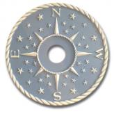 Compass Rose Chandelier Medallion - Distressed Light Blue