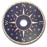 Compass Rose Chandelier Medallion - Distressed Navy Blue