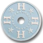 Round Chandelier Medallion Stars and Letter H - Distressed Powder Blue