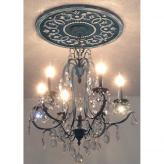 Round Mediterranean Chandelier Medallion - Distressed Navy