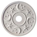 Moon and Stars Chandelier Medallion - Solid White