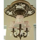 Bunnies Fancy Chandelier Medallion - Distressed Brown