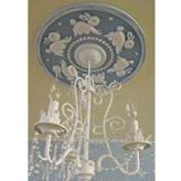 Bunnies Round Chandelier Medallion - Distressed Light Blue