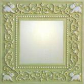 Fancy Bunnies Mirror - Distressed Apple Green Square