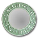 Round Laugh and Play Mirror - Distressed Pale Green