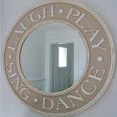 Round Laugh and Play Mirror - Distressed Tan